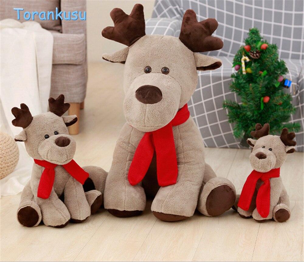 Toys elk Reindeer kawaii Christmas Plush Toys for children Creative Red Scarf Reindeer baby kids sleep appease doll Xmas gift
