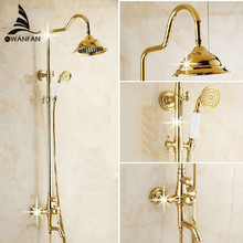 Bath Shower Sets Luxury Gold Brass Shower Faucet Set Single Handle Single Holder Dual Control Bathtub Mixer Hand Shower GY-8336(China)
