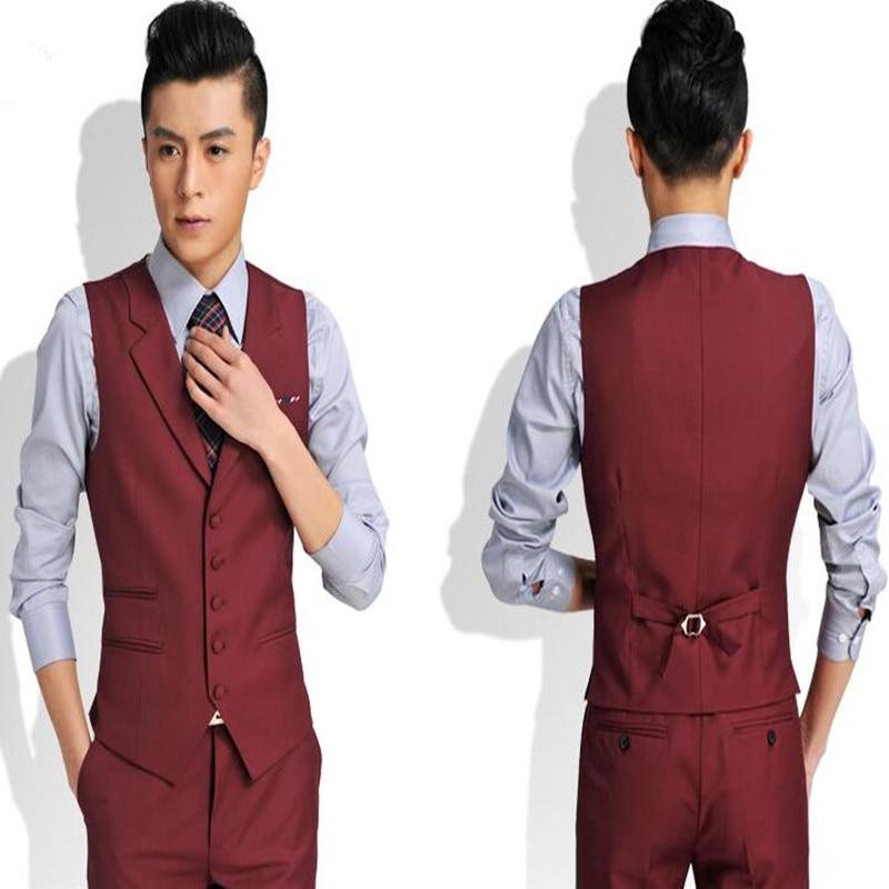 Elegant gentleman men vest wedding tuxedos custom men vest pure color lapel men's business casual professional suit waistcoat