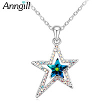 ANNGILL Genuine Crystal from Swarovski Star Shimmering Pendant Necklaces for Women Fine Jewelry Gift Female Fashion Accessories(China)