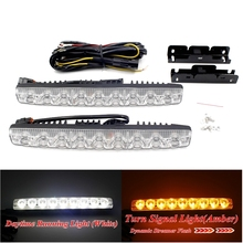 2X9 LEDs Dynamic Streamer Flash Daytime Running Light BarTurn Signal Warning Steering Brake DRL Car Styling White Amber Fog Lamp