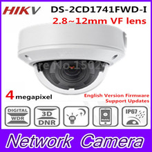 2017 HiK New Released 4MP CMOS Vari-Focal Network Dome Camera DS-2CD1741FWD-I Replace DS-2CD2745F-I IP Camera Lens 2.8~12mm H264