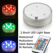 20 pcs /lot 3AAA Battery Operated 2.8inch Waterproof Submersible Multicolors RGB LED Under Vase Light Base W/Remote