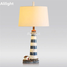 Italy Style Lighthouse Shape Table Lamps Table Light Resin Handcraft Engrave Sculpture Read Desk Lamps Foyer Light Decor Fixture
