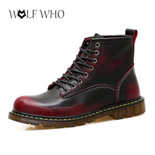 WolfWho Martin Boots 야외 Working Boots Men 화 (High) 저 (Quality 정품 가죽가 Men Boots 겨울 방수 Ankle Boots(China)