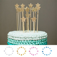 12pcs Shinning Star wedding birthday cake decorating tools decoration wedding birthday cake topper stand 4 color cheap Inserter(China)