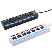 Factory Price New high speed 7 Ports LED USB 1.1 Adapter Hub Power on / off Switch For PC Laptop Computer(China)