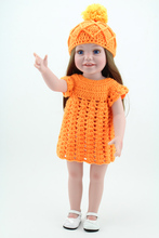 18'' 45cm Vinyl Toddler Girl Dolls Toys Cute Childs Play Doll With Orange Crochet Dress Outfits Brown Hair(China)