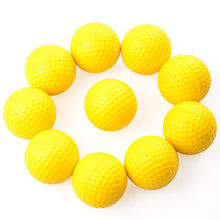 10pcs Plastic Golf Ball Outdoor Sports Yellow Soft Elastic Golf Balls Golf Practice Training Balls Training Aid(China)
