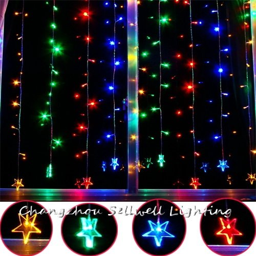GREAT!Fashionable accessory showcase decoration 120 pcs coloured star curtain lamp H314<br><br>Aliexpress