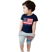 2015 new 3-8 years children's clothing Track suit brand boys/girls 1set 100% cotton summer boys clothing sets kids clothes