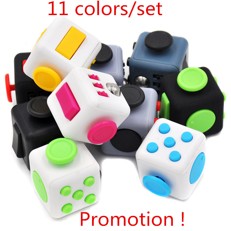 11 Colors/set Promotion ! Big 3*3*3cm Fidget Cube Toys Squeeze Fun Stress Reliever Fidget Toys Puzzle Magic Cube Toys With Box(China (Mainland))