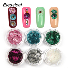 ELESSICAL 6bottle/set Colorful Golden Dust Flowers Design Nail Glitters Acrylic Powders 3D DIY Nail Decorations Manicure WY938
