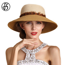 FS Summer Straw Hats For Women Fashion Design Female Wide Brim Floppy Beach Sun Hat Foldable Brimmed Sun Shade Sombreros Sunhat(China)