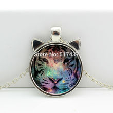 2017 New Tiger Necklace Pendant Glass Tiger Jewelry Glass Art Picture Necklace HZ2-00453