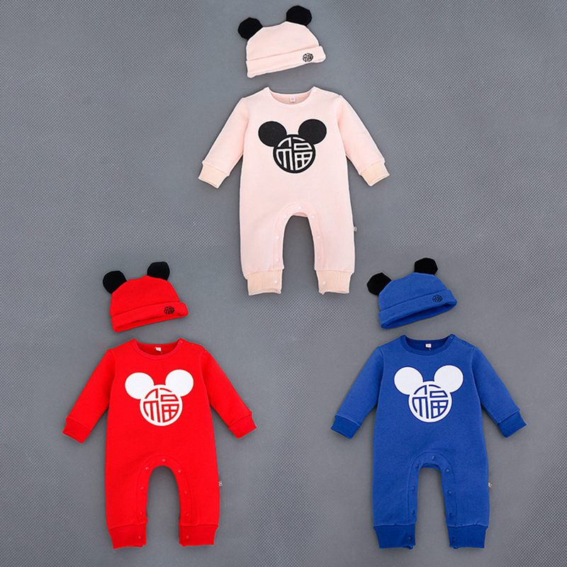Winter Warm Toddle Baby Set With Hat Cotton Cartoon Mouse Velvet Casual Baby Jumpsuit Romper Home Clothes 3 Size For 0-24M<br><br>Aliexpress