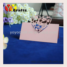 good quality wedding favor laser cutting love bird pink table card and place card holder