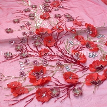 New pink/red Beads mixed gold sparkling sequins on netting Embroidery Collar Decals Decoration 45cm X 90cm By piece