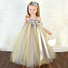Princess Tulle Flower Girl Dress Handmade Kids Tutu Dress & Matching Headband for Bridesmaid Wedding Birthday Party TS076