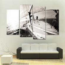Black and White Painting Canvas Boat Canvas Art Print Poster Oil Painting wall decor painting for Living Room 4 Panel(China)