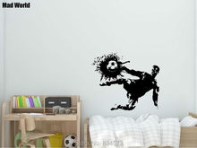 Mad World-Football Kicking Sport Volley Shoot Wall Art Stickers Wall Decal Home DIY Decoration Removable Room Decor Wall Sticker