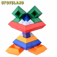 UTOYSLAND 15-Piece Diamond Changeable Building Blocks Magic Tower Pyramid Cube Assembly Educational Toy for Baby Kids Children