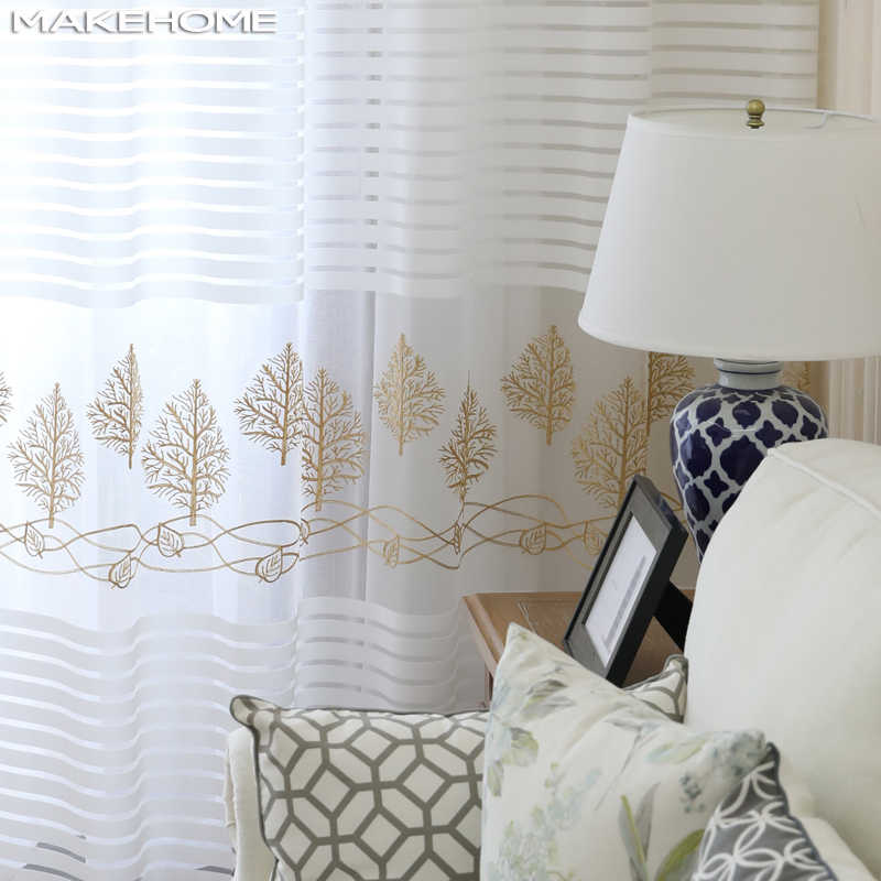 MAKEHOME Stripe Sheer Curtains Plant Embroidered Curtain for Kitchen Living Room Bedroom Voile Tulle for Windows Treatment Panel