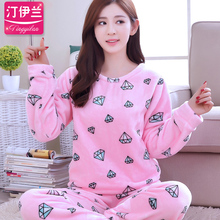 Flannel Pajamas Autumn and Winter Couple Pajamas Set Long Sleeve Sleepwear Super Soft Coral Fleece Pajamas B-5996(China)