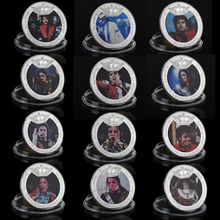 WR 12pcs/set Michael Jackson Challenge Coin Silver Plated Commemorative Coin US Famous Singer Silver Coin 8th Anniversary Coin(China)
