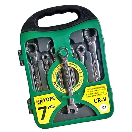 NFLC- 7pcs/set 8-19 full polishing fast ratchet wrench plastic box set green<br>