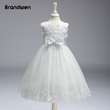 Brandwen Girls Prom Summer Dress Baby Embroidery Rose Princess Dresses Children Sleeveless Mesh Party Wedding Gown Costume