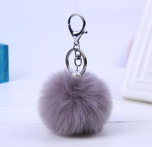 Fur Key chain Cute Car Bag keychain Pom Pom 13 colors 8cm Ball  Bag charm Key Ring Mujer for women gift Jewelry 16001