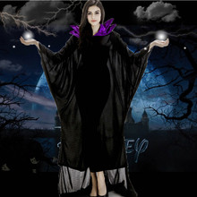 women Maleficent Costume Adult women Halloween Witch Cosplay Fairy Tale Sleeping Beauty Curse Witchcraft Black Dress Horns Movie(China)