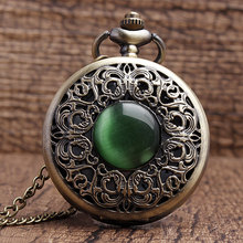 Free Shipping Antique Hollow Bronze Flowers Green Emerald  Quartz Pocket Watch Necklace Pendant Watches Men Women Gifts P267