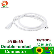 T5 T8 connecting wire 120cm 150cm 180cm integrated tube cable 4ft 5ft 6ft Cable for Integrated t8 t5 led tubes lights Connector(China)