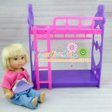 funny toys for baby girls play house toys platic bunk bed for mini doll house For Barbie doll kelly doll(China)