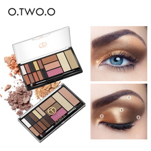 O.TWO.O 15 Shades Palette Eyeshadow Highlighter Glitter Blush Contour Palette With Brush(China)