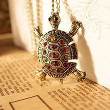 2016 New Fashion Turtle Pendant Necklace Wholesale European American Vintage Cute Sweater Tortoise Necklaces Jewelry For Women