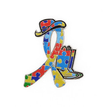 Autism Awareness Cowgirl Boots Sneaker Shoe Eastern Star OES Golf Clubs Hockey Girl Bicycle Jigsaw Puzzle Ribbon Lapel Pins(China)