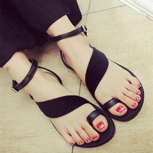 Fashion Women Sandals Buckle Strap Flock Gladiator Casual Solid Flats Flip Flops 2017 Summer Beach Sandals Female Flats 2 Colors