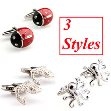 3 Designs Animal Cufflink Fish Devilfish Beatles Cuff Link Free Shipping(China)