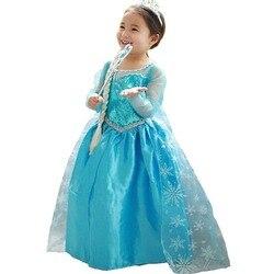 Детский костюм в виде платья принцессы Эльзы на девочек 4-10 лет