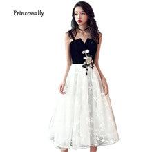 New Evening Dress Tea-length Lace Spaghetti Straps White Black Appliques  Short Formal Prom Party Dresses 2018 Vestido De Festa bc5894b1e92b