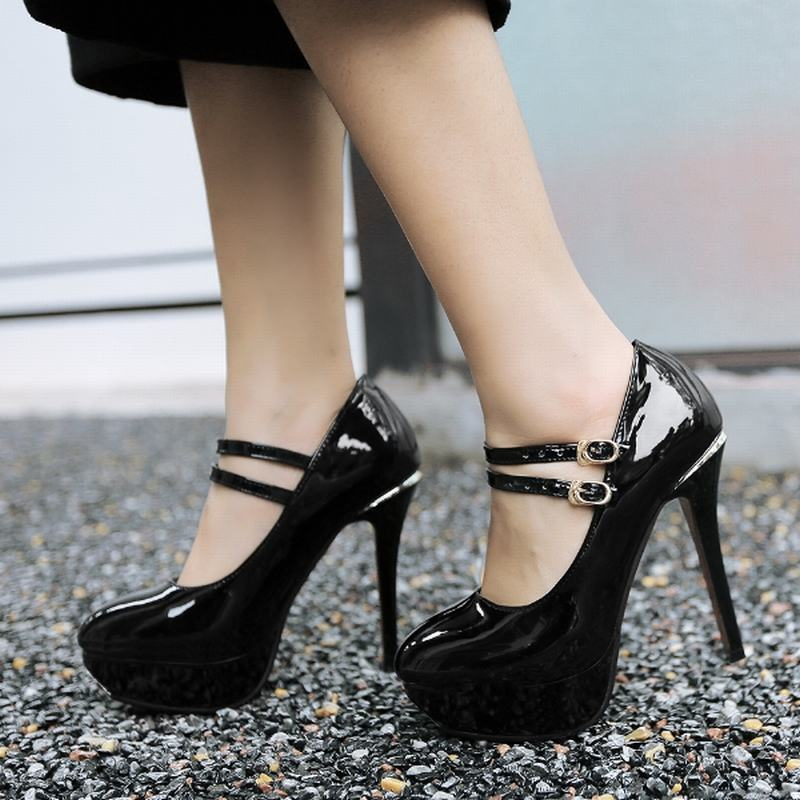 16 Sexy Mary Janes Women Pumps Buckle Strap High Heels Spike Heels Platform Shoes Woman Big Size 32-43 Fashion Women Shoes AA550<br><br>Aliexpress
