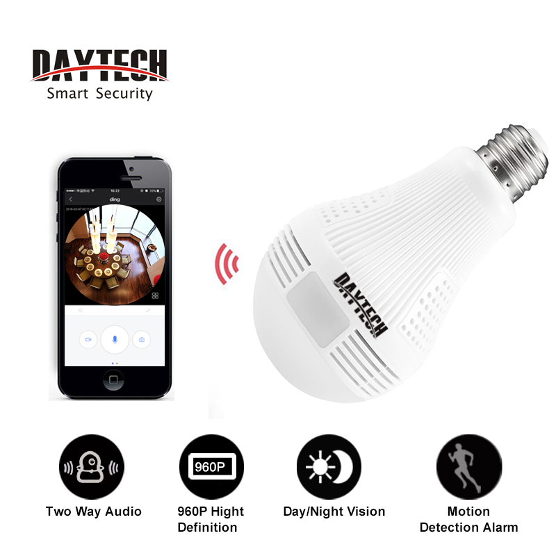 Daytech HD 960P CCTV Wifi Camera Video Two-way Audio Indoor Night Vision Panoramic Wide View Fisheye IP Camera Network Monitor<br>