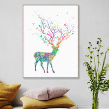 Canvas Printing of Modern Watercolor Deer Head Tree Art Print Poster Wall Picture Home Decor Painting No Frame pp157