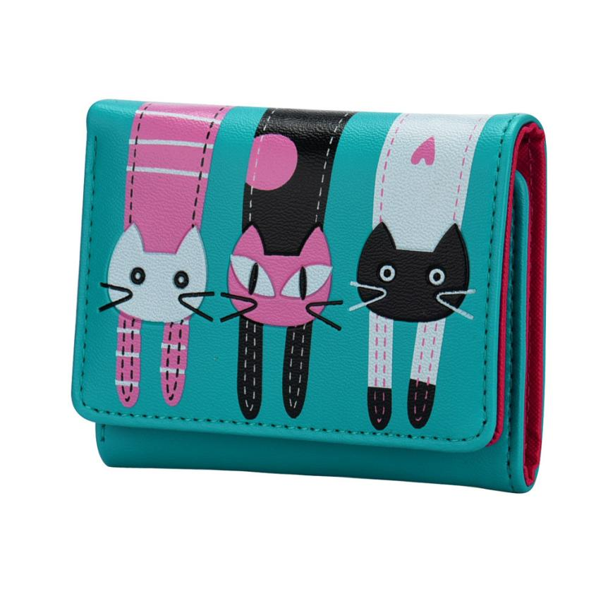 Hcandice Women Cat Pattern Coin Purse Short Wallet Card Holders Handbag Best Gift Wholesale Jan22<br><br>Aliexpress