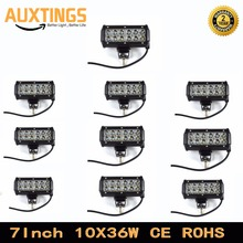 10PCS 7 inch 36w led offroad light bar spot flood beam 12 volt led work light for Motorcycle Tractor Boat 4WD 4x4 Truck SUV ATV(China)