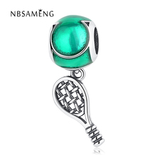 2017 Autumn 925 Sterling Silver Green Circle Tennis Racket Beads Pendant Fit Original Pandora Charms Bracelets Jewelry Gift(China)