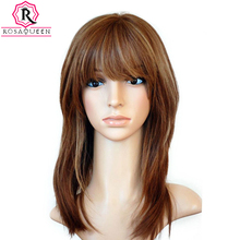 Unprocessed European Virgin Hair Pure Color Silky Straight Silk Top Full Lace Jewish Wigs With Bang Rosa Queen Hair(China)
